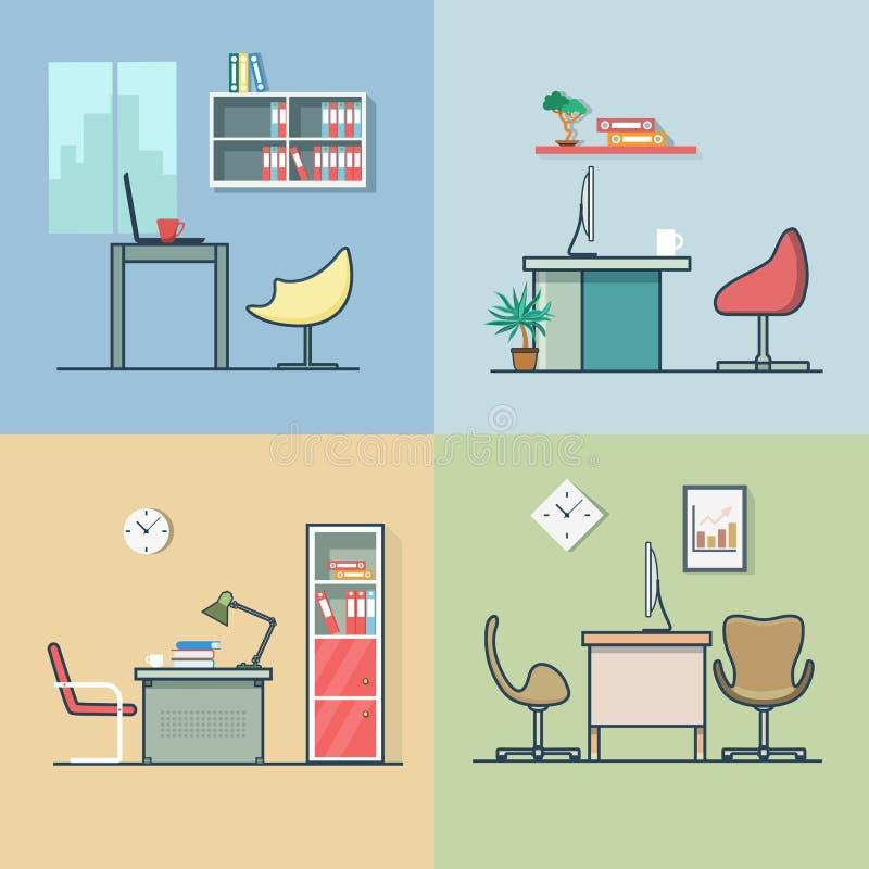 Van de de werkplaatslijst van de bureauruimte de stoel binnenlandse binnen vector illustratie