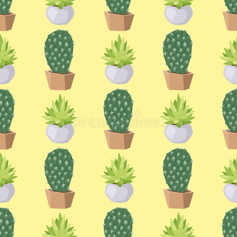Van de de woestijnbloem van de cactusaard van het de installatie naadloze patroon groene Mexicaanse succulente tropische de cactu stock illustratie