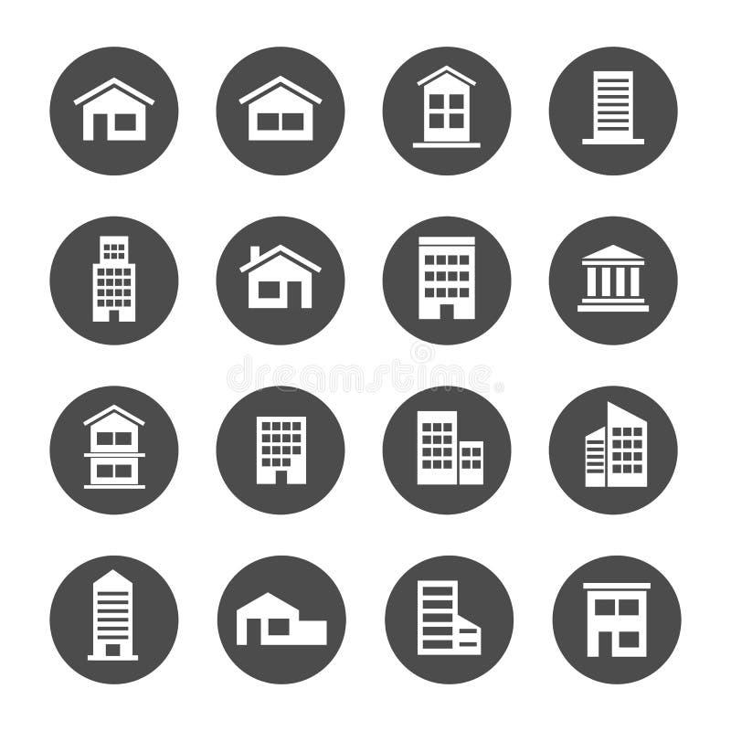 Van de de woonplaatsbank van de huiswoningbouw het pictogram van het de flatrijtjeshuis royalty-vrije illustratie
