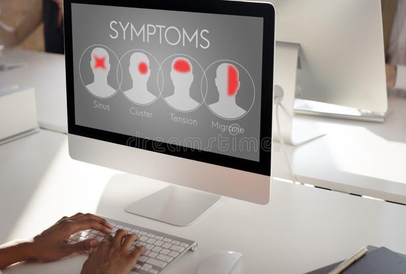 Van de de Ziektegezondheidszorg van de symptomenziekte de Hoofdpijnconcept stock afbeeldingen