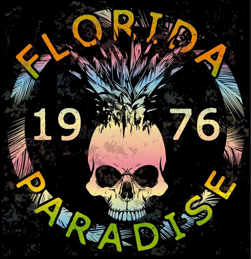 Van de de Zomerinzameling van de schedelt-shirt het Grafische Ontwerp van Florida vector illustratie
