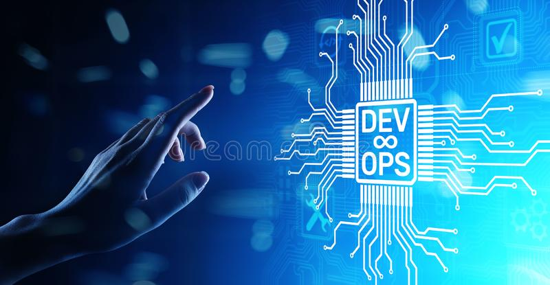Van de Devops Behendig ontwikkeling en optimalisering concept op het virtuele scherm stock illustratie
