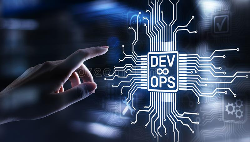Van de Devops Behendig ontwikkeling en optimalisering concept op het virtuele scherm stock foto