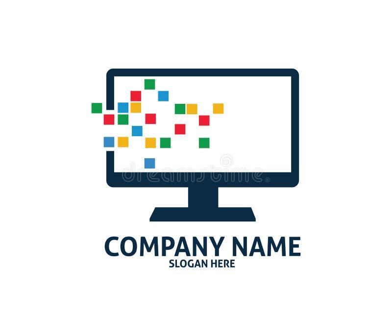 Van de de diensttechnologie van de pixelcomputer vector het embleemontwerp royalty-vrije illustratie