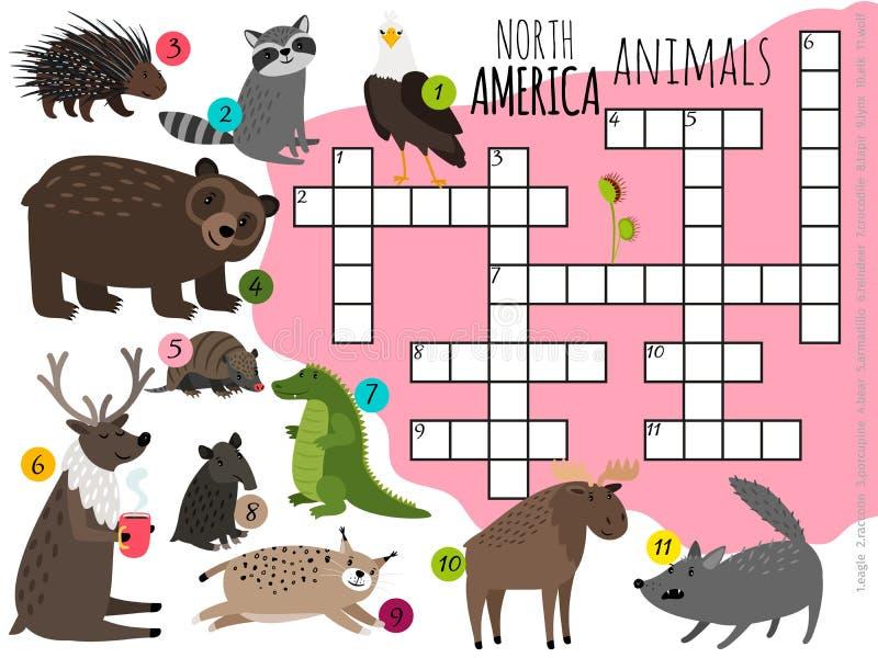 Van de dierenjonge geitjes van beeldverhaalnoord-amerika het kruiswoordraadsel vectorontwerp vector illustratie