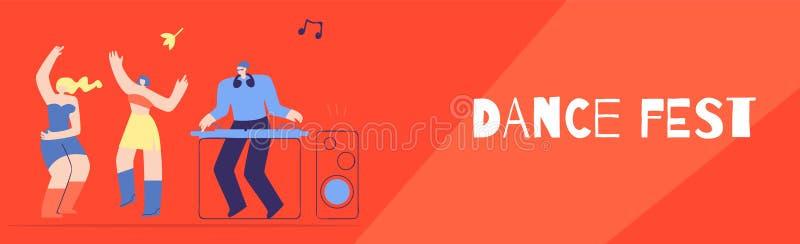 Van de de Discoclub van dansfest DJ Banner van de de Partij de Vlakke Stijl royalty-vrije illustratie