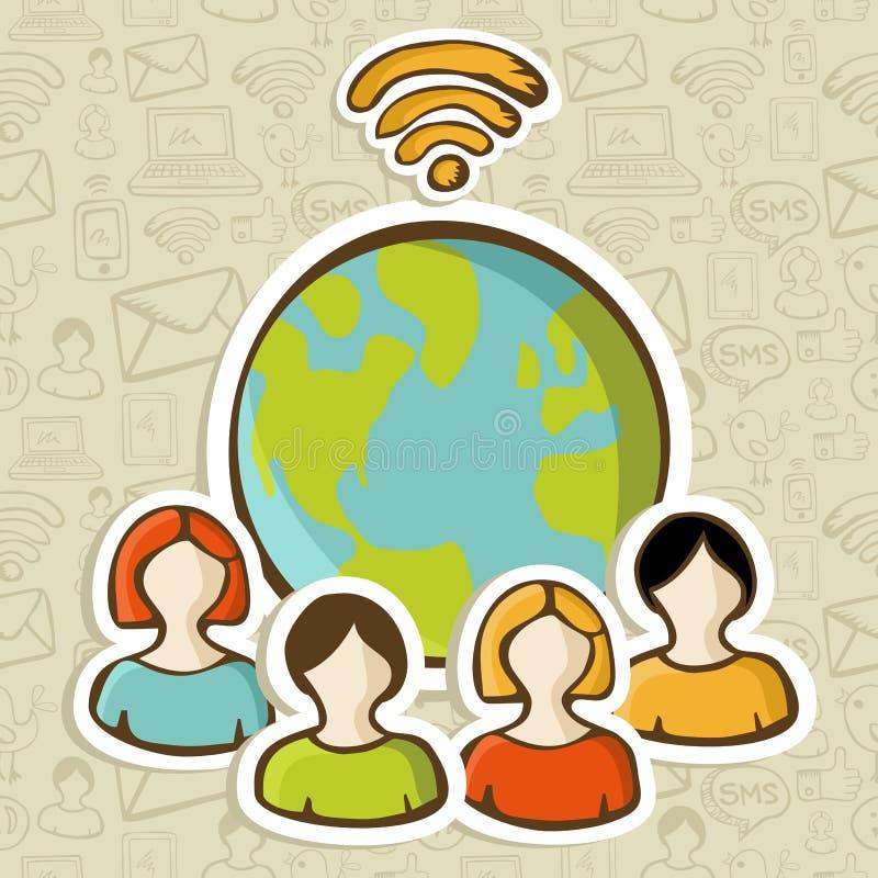 Van de diversiteitsmensen van Internet de globale aansluting stock illustratie
