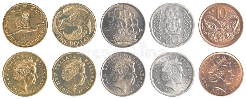 Van de dollarmuntstukken van Nieuw Zeeland de inzamelingsreeks stock fotografie