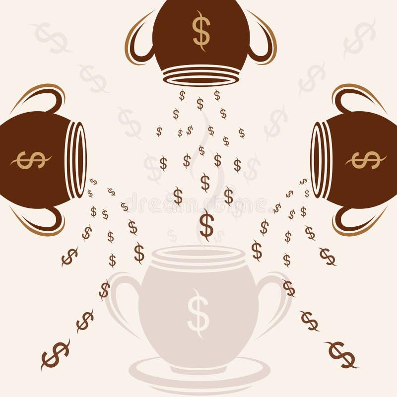 Van de de dollarroom van het koppatroon vectorillustratie als achtergrond stock illustratie