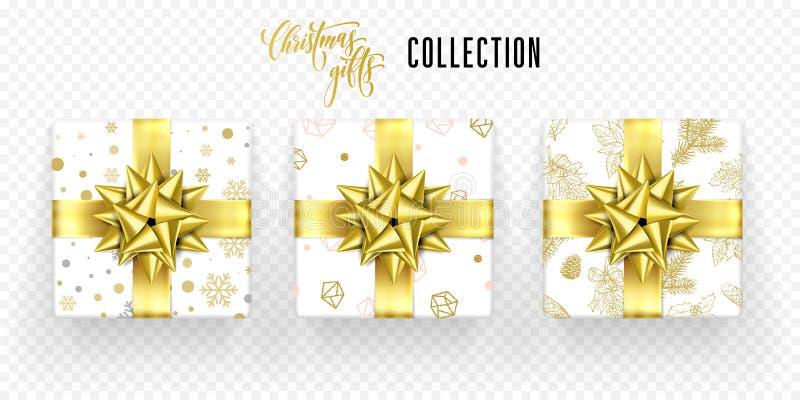Van de de doos gouden boog van de Kerstmisgift het lint vectorpictogrammen geplaatst Nieuwjaargroet stock illustratie