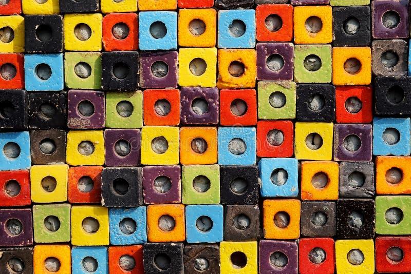 Van de de doostextuur van de combinatie kleurrijke ceramische kubus de oppervlakteachtergrond stock fotografie