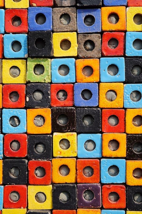 Van de de doostextuur van de combinatie kleurrijke ceramische kubus de oppervlakteachtergrond stock foto's