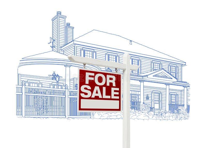 Van de douanehuis en Verkoop het Teken die van Real Estate op Wit trekken stock illustratie