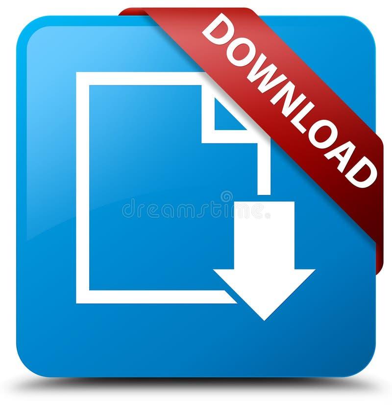 Van de download (documentpictogram) het cyaan blauwe vierkante knoop rode lint in c vector illustratie