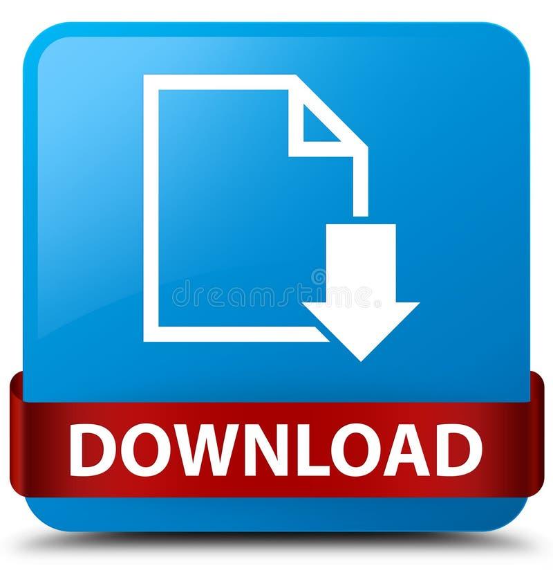 Van de download (documentpictogram) het cyaan blauwe vierkante knoop rode lint in m royalty-vrije illustratie