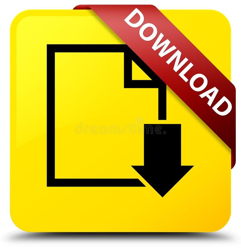 Van de download (documentpictogram) het gele vierkante knoop rode lint in graan royalty-vrije illustratie