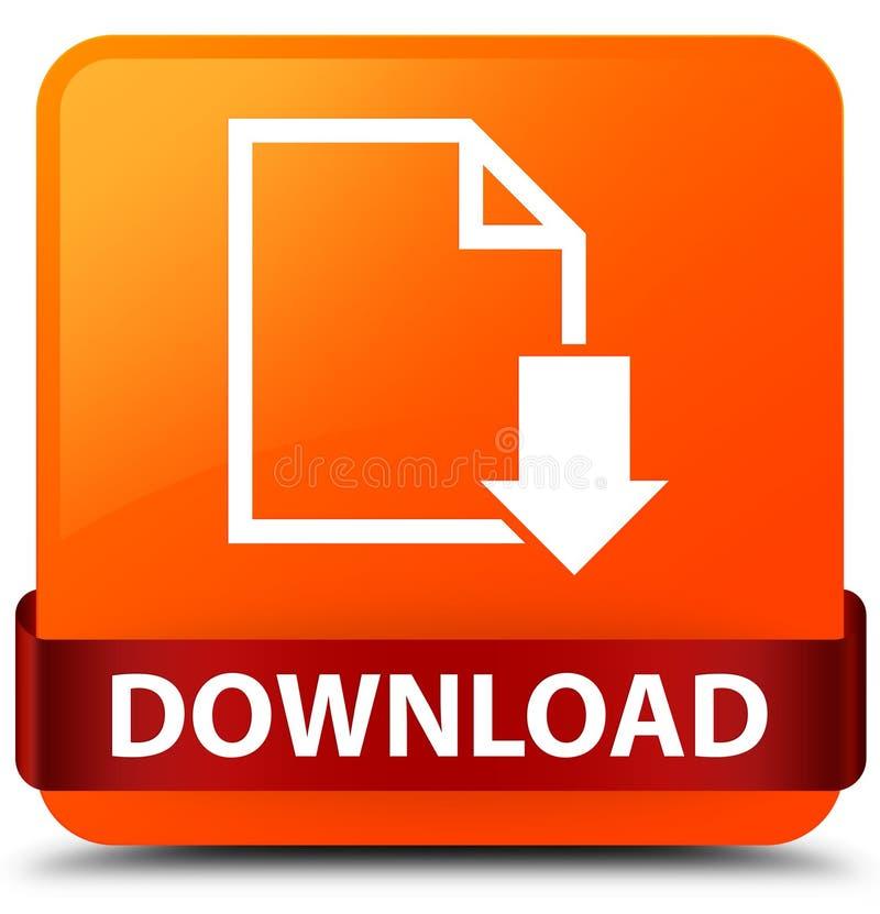 Van de download (documentpictogram) het oranje vierkante knoop rode lint in midd royalty-vrije illustratie
