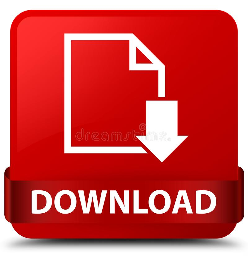 Van de download (documentpictogram) het rode vierkante knoop rode lint in midden royalty-vrije illustratie