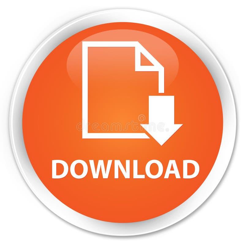 Van de download (documentpictogram) premie de oranje ronde knoop vector illustratie