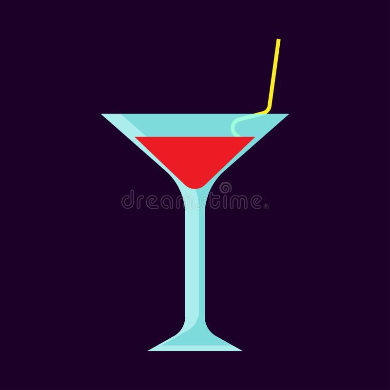 Van de de drankbar van het cocktailglas alcoholisch de partij vectorpictogram De vloeibare drank van de verfrissing rode nachtclu stock illustratie