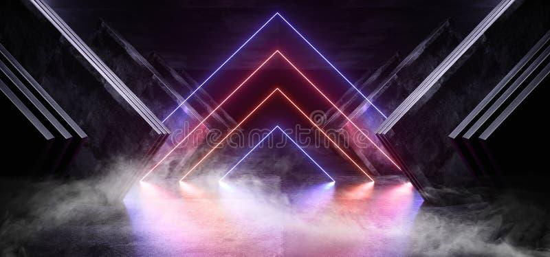 Van de Driehoekssc.i van het rookneon het Purpere Rode Roze Gloeiende van de het Ruimteschip Abstracte Driehoek van FI Futuristis vector illustratie