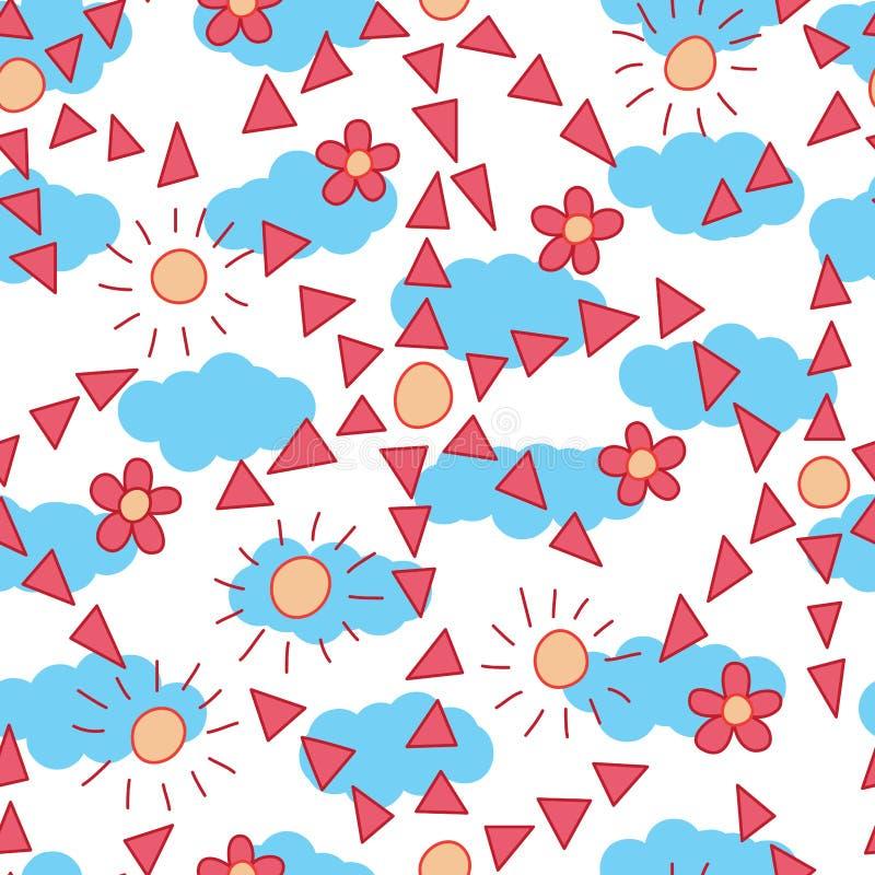 Van de de driehoekszon van de bloemstijl de wolken naadloos patroon vector illustratie