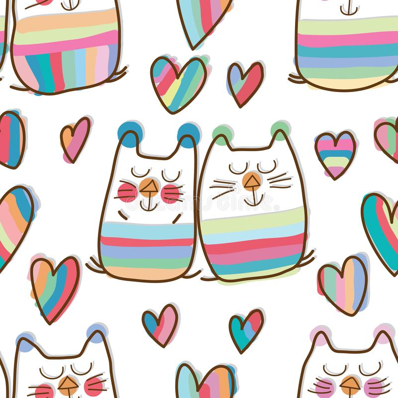 Van de de droomliefde van het kattenpaar het zoete naadloze patroon royalty-vrije illustratie