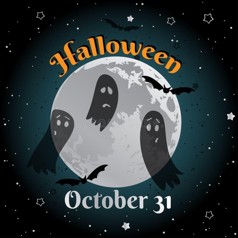 Van de de dwaasmaan van Halloween het leuke ontwerp van de de groetkaart Vector illustratie stock illustratie