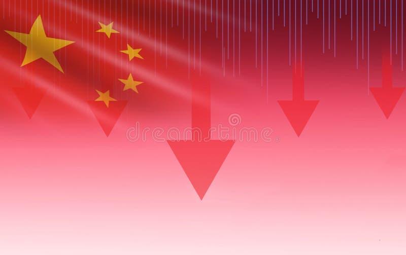 Van de de effectenbeurscrisis van China Shanghai rode de prijspijl onderaan grafiekdaling stock foto's