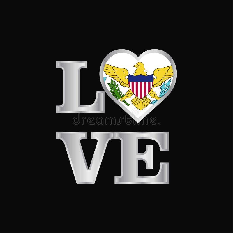 Van de de Eilandenv.s. van de liefdetypografie Maagdelijk de vlagontwerp vector mooi l stock illustratie