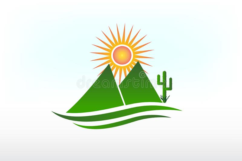 Van de van de van de embleembergen, zon, weg en cactus pictogramvector vector illustratie