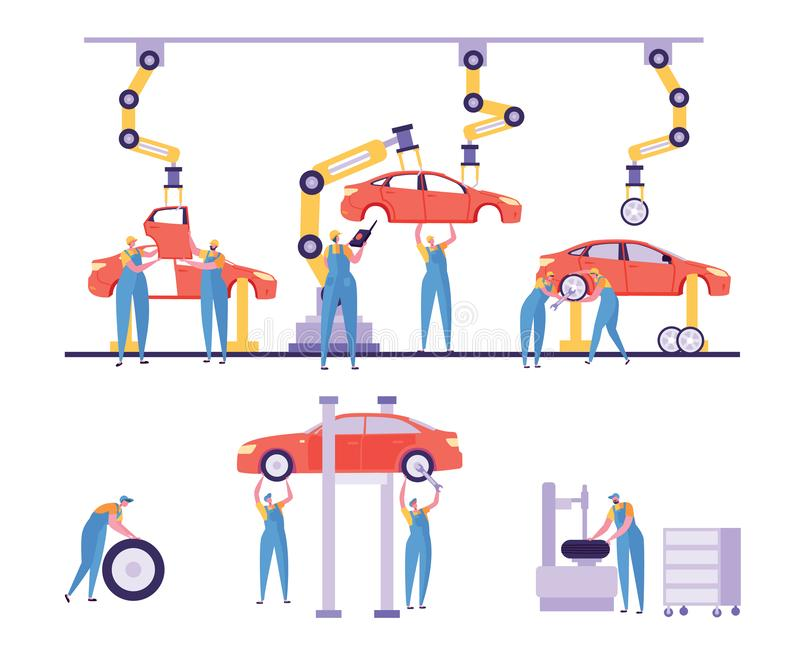 Van de Fabrieksmachines van de autoproductie de Lijnreeks Ontwerp van de de automobielindustrie het Automatische Robotachtige Ins royalty-vrije illustratie