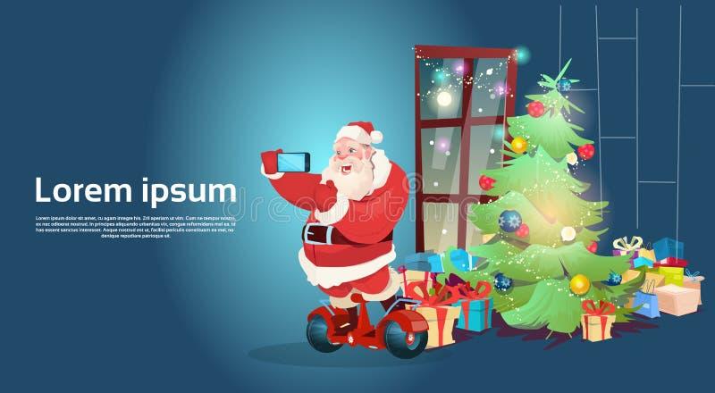 Van de Fotokerstmis van Santa Claus Ride Electric Hoverboard Making Selfie Kaart van de het Nieuwjaargroet de Gelukkige vector illustratie