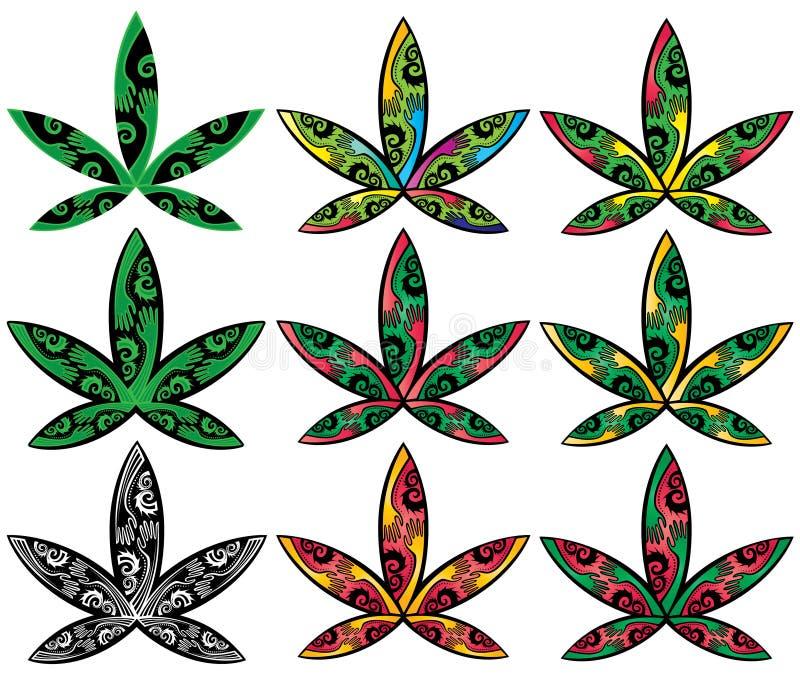 Van de ganja de decoratieve stijl van de cannabismarihuana illustratie van het het bladsymbool vector illustratie