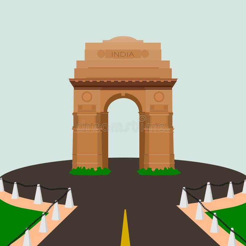 Van de gatewaydelhi van India de kleurrijke vectortekening royalty-vrije illustratie