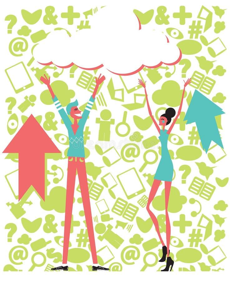Download Van De Gegevensverwerkingsmensen Van De Wolk Het Conceptenachtergrond Met Sociale Pictogrammen Stock Illustratie - Illustratie bestaande uit globalisering, mens: 29500264