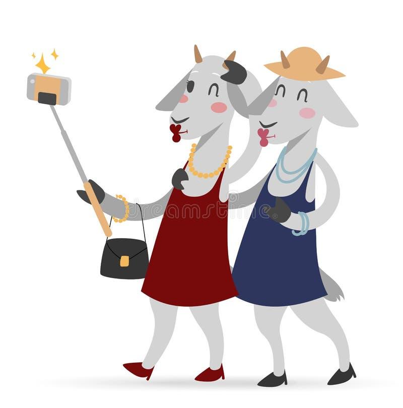 Van de geitmeisjes van de Selfiefoto het paar frinds vector royalty-vrije illustratie