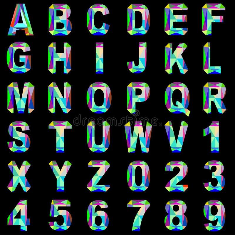 Van de gem van de alfabetdoopvont en gekleurd glas royalty-vrije illustratie