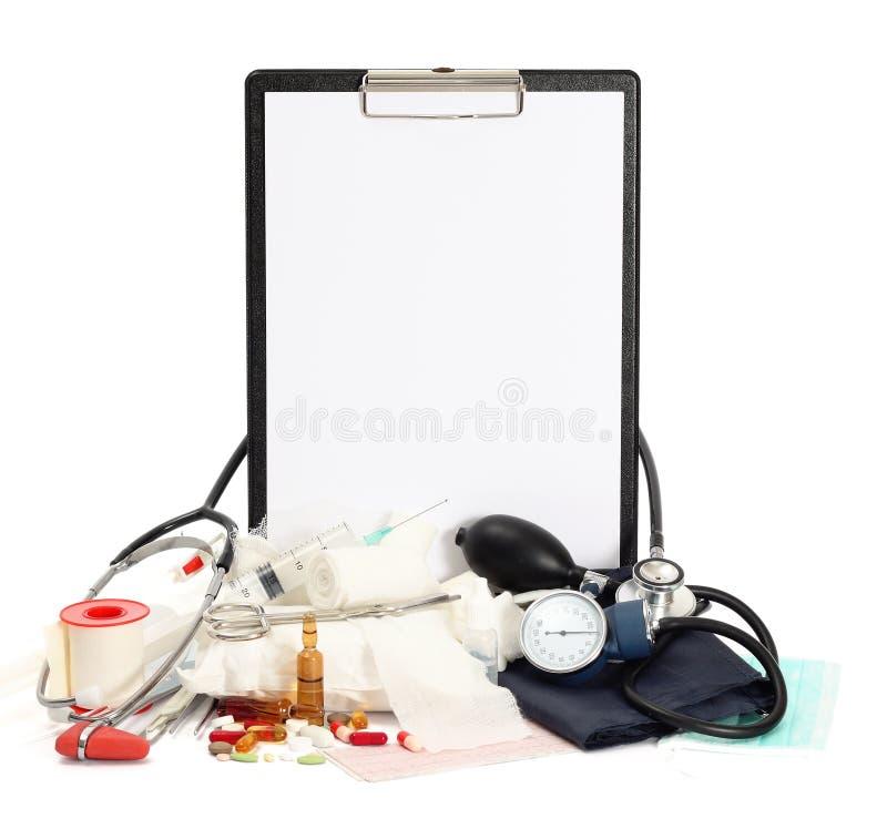 Van de geneeskunde medische hulpmiddelen als achtergrond stock afbeeldingen