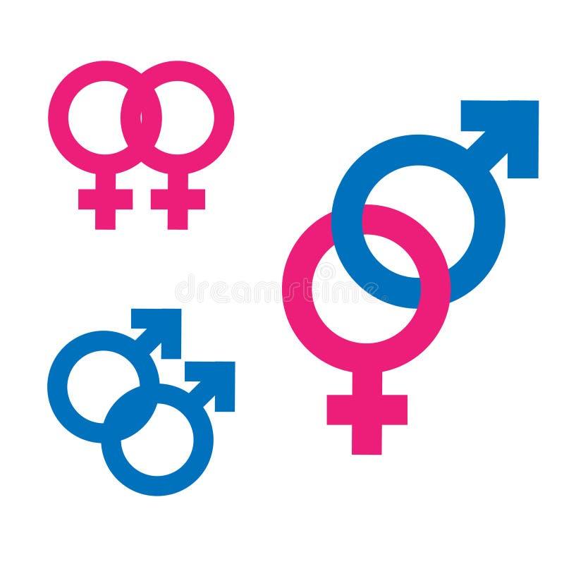 Van de geslachtsongelijkheid en gelijkheid pictogramsymbool Mannelijk Vrouwelijk de vrouwenman van de meisjesjongen transsexueelp vector illustratie