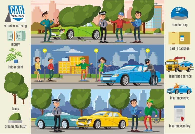 Van de Gevalleninfographic van de autoverzekering de Horizontale Banners royalty-vrije illustratie