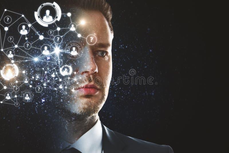 Van de gezichtserkenning en innovatie concept stock afbeeldingen