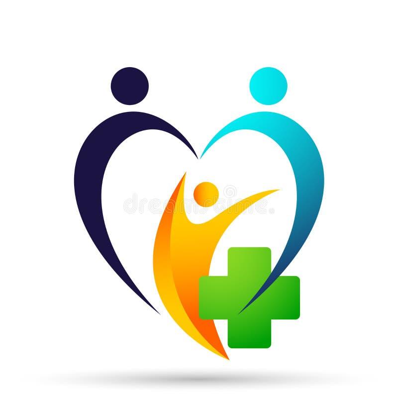 Van de de gezondheidsfamilie van de bolwereld Medisch van de de zorgkliniek van het de mensen gezond leven van het de zorgembleem stock illustratie