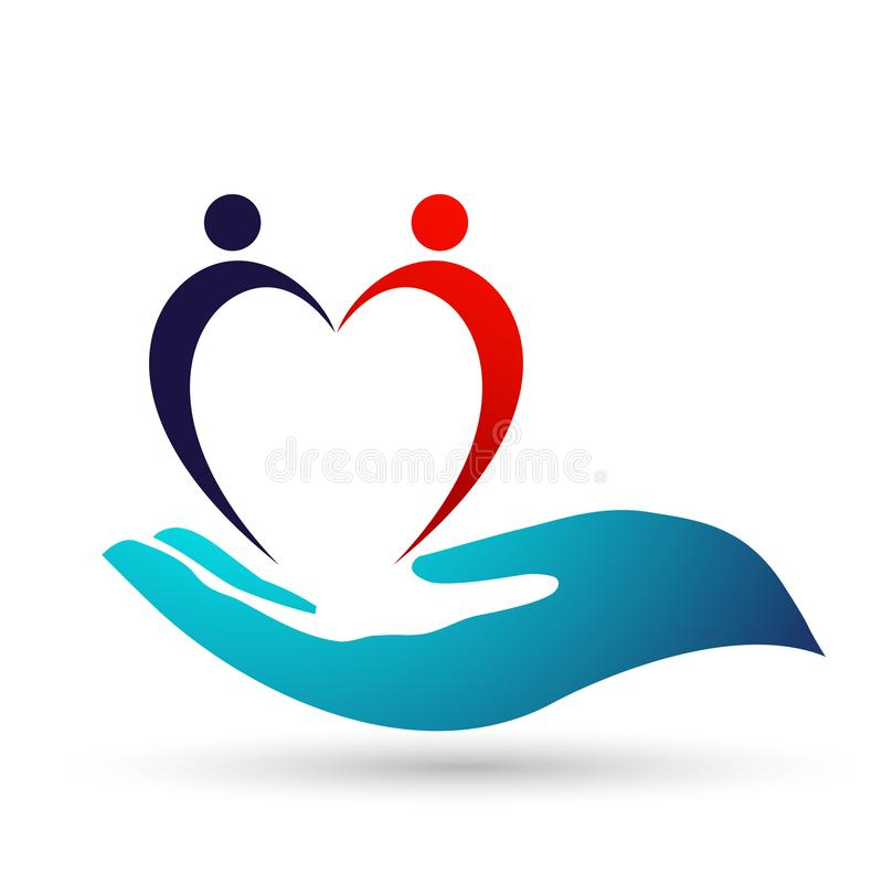 Van de de gezondheidsfamilie van de bolwereld Medisch van de de zorgkliniek van het de mensen gezond leven van het de zorgembleem vector illustratie