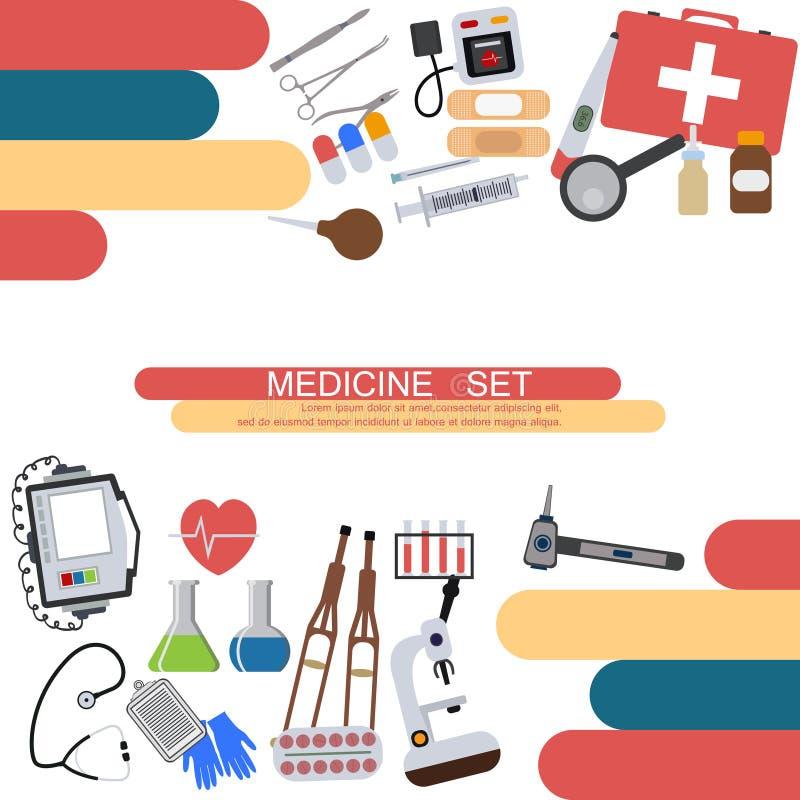 Van de gezondheidshulpmiddelen van de geneeskundebanner van de het ziekenhuis menselijke dienst de medische van de de verrichting stock afbeelding