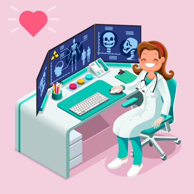 Van de Gezondheidszorggegevens van de het ziekenhuiscomputer Isometrisch de Mensenbeeldverhaal stock illustratie