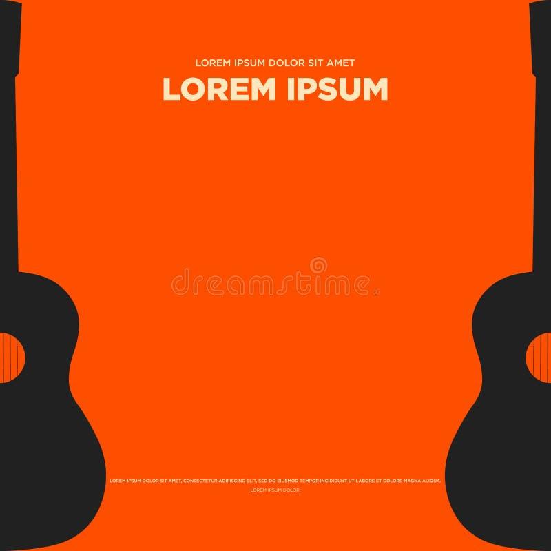 Van de gitaar retro uitstekend affiche abstract vlak ontwerp als achtergrond stock illustratie
