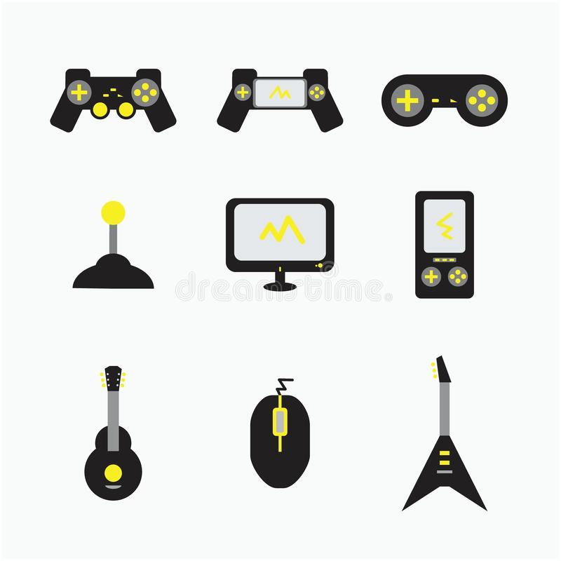 Van de gitaarcomputers van de spelconsole het pictogramillustraties royalty-vrije illustratie