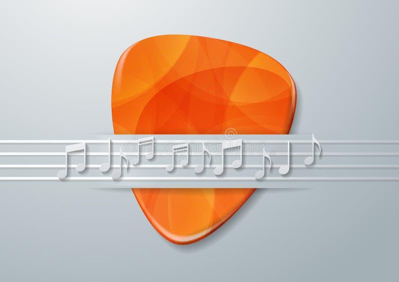 Van de gitaaroogst en Muziek Nota'sachtergrond stock illustratie
