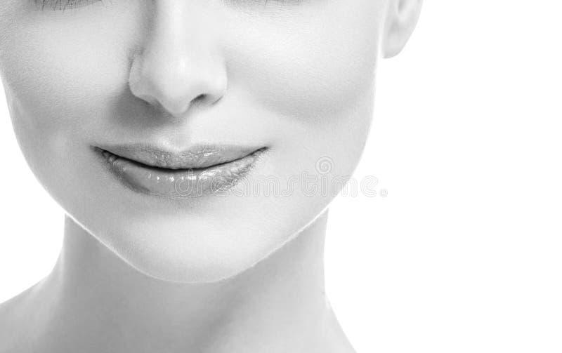 Van de de glimlachvrouw van de lippenmond isoleerde het mooie roze natuurlijke de lippenwijfje op witte zwart-wit stock foto's